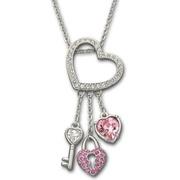 Swarovski цепочка с подвеской pink heart