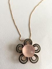 Продам золотую подвеску (розовый кварц,  черные бриллианты) Беларусь